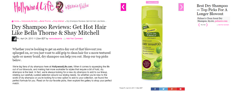 Featuring Palmer's Olive Oil Formula Dry Shampoo