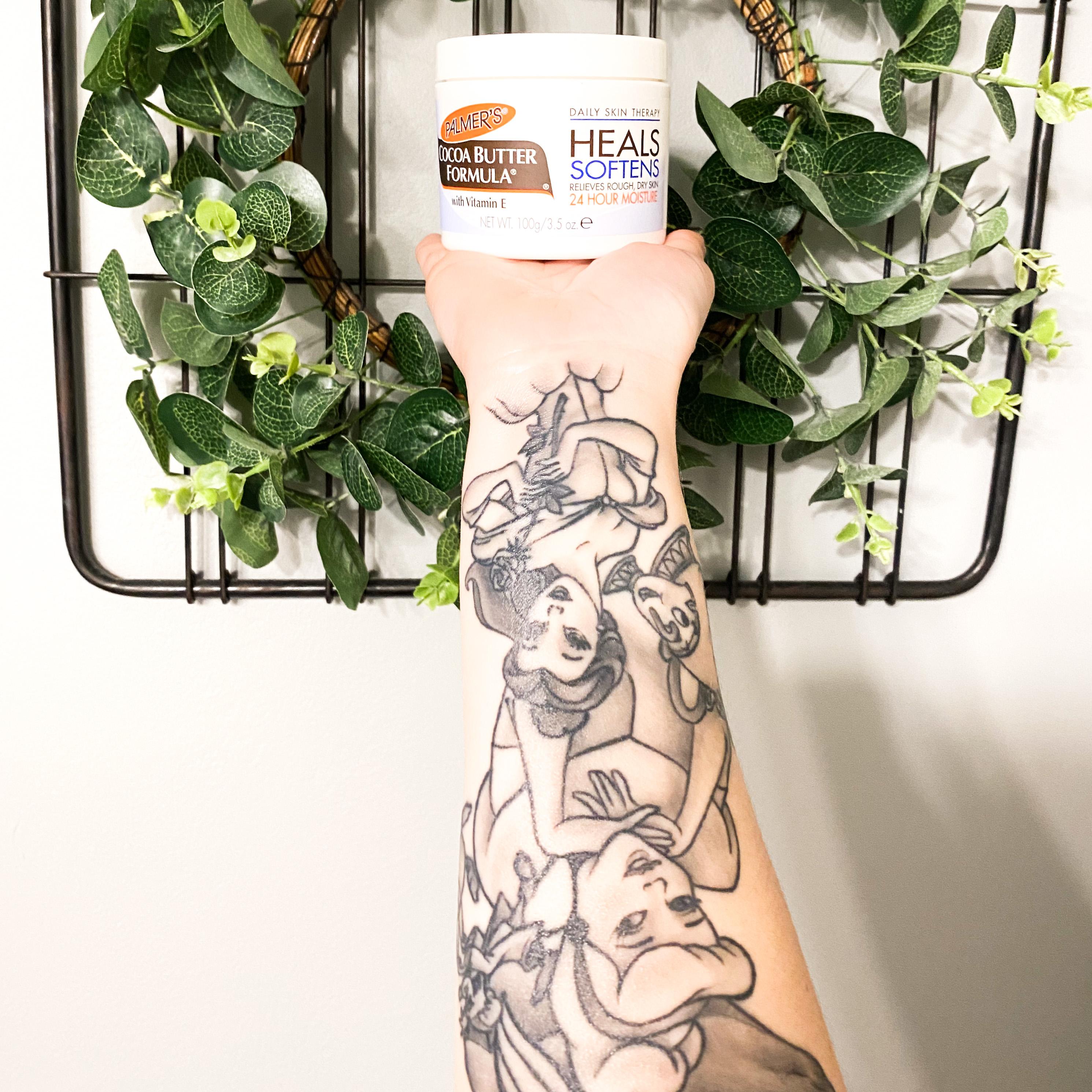 Palmer's Cocoa Butter Formula Original Solid Jar helps keep tattoos looking fresh