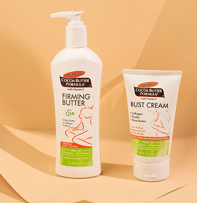 Palmer's Firming Butter and Bust Cream, skin care for after pregnancy, on table