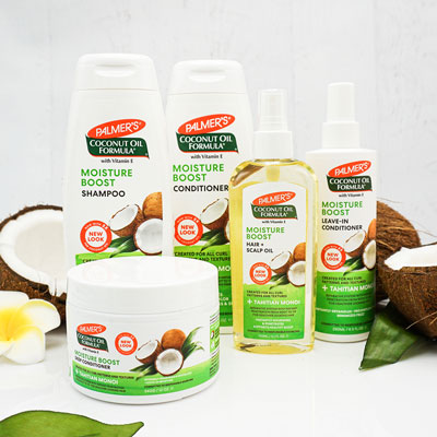 Palmer's Coconut Oil Formula Moisture Boost Hair Care for protective styles on a table