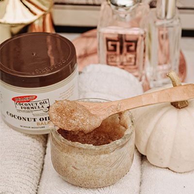Palmer's Coconut Oil Balm, one of the best skin balms for dry skin, mixed with sugar for a lip scrub