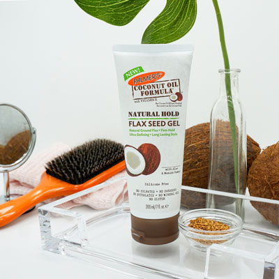 Palmer's Coconut Oil Formula Flax Seed Gel for natural hair in a tray