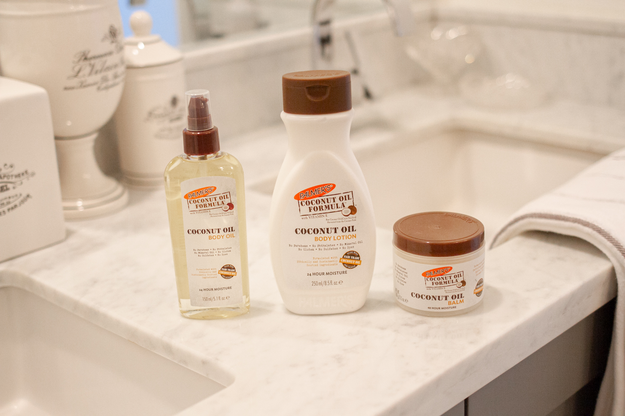Palmer's Coconut Oil Formula winter skin care products in bathroom