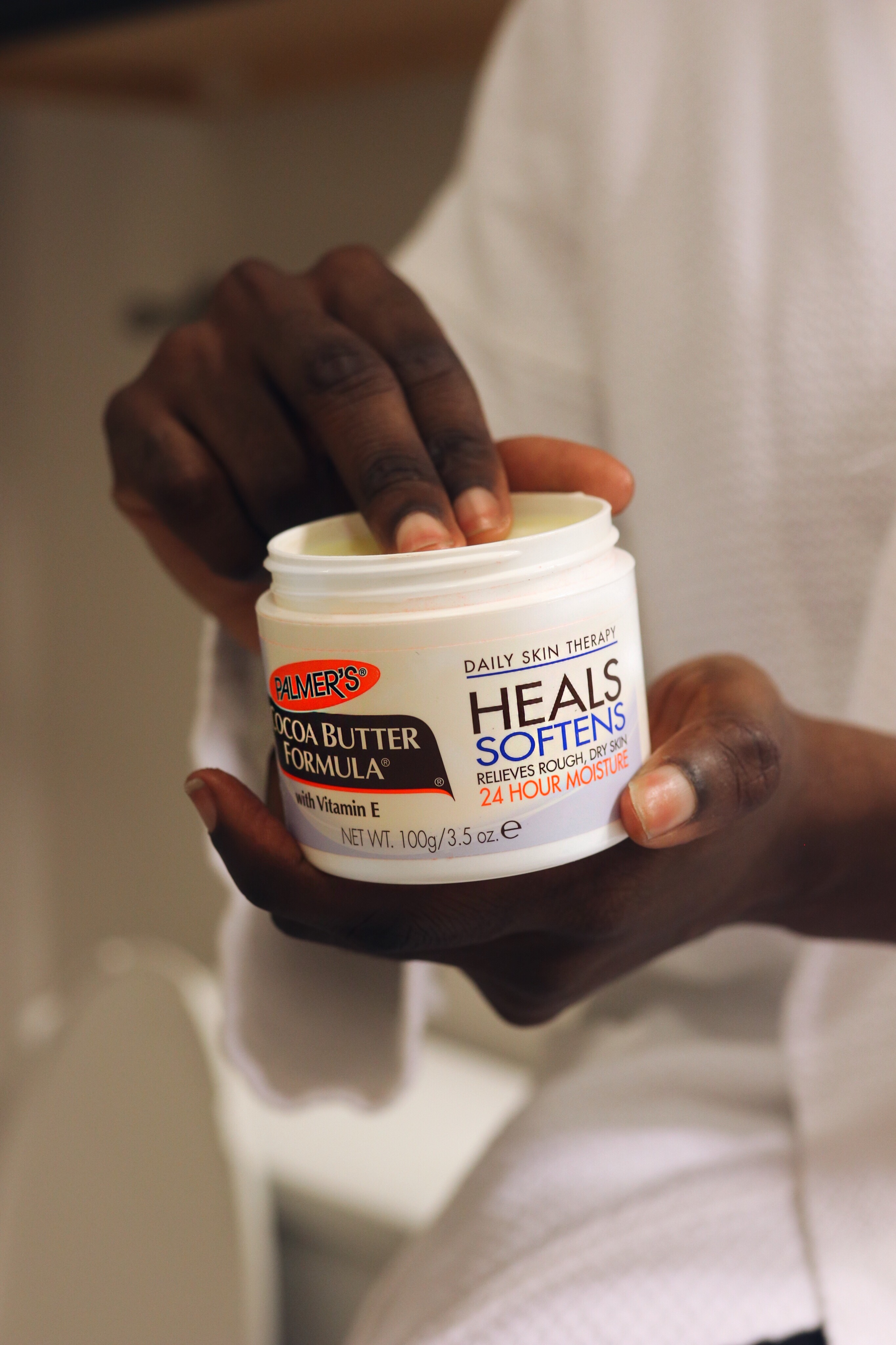 Winter skin care tips using Palmer's Cocoa Butter Formula Original Solid Jar for