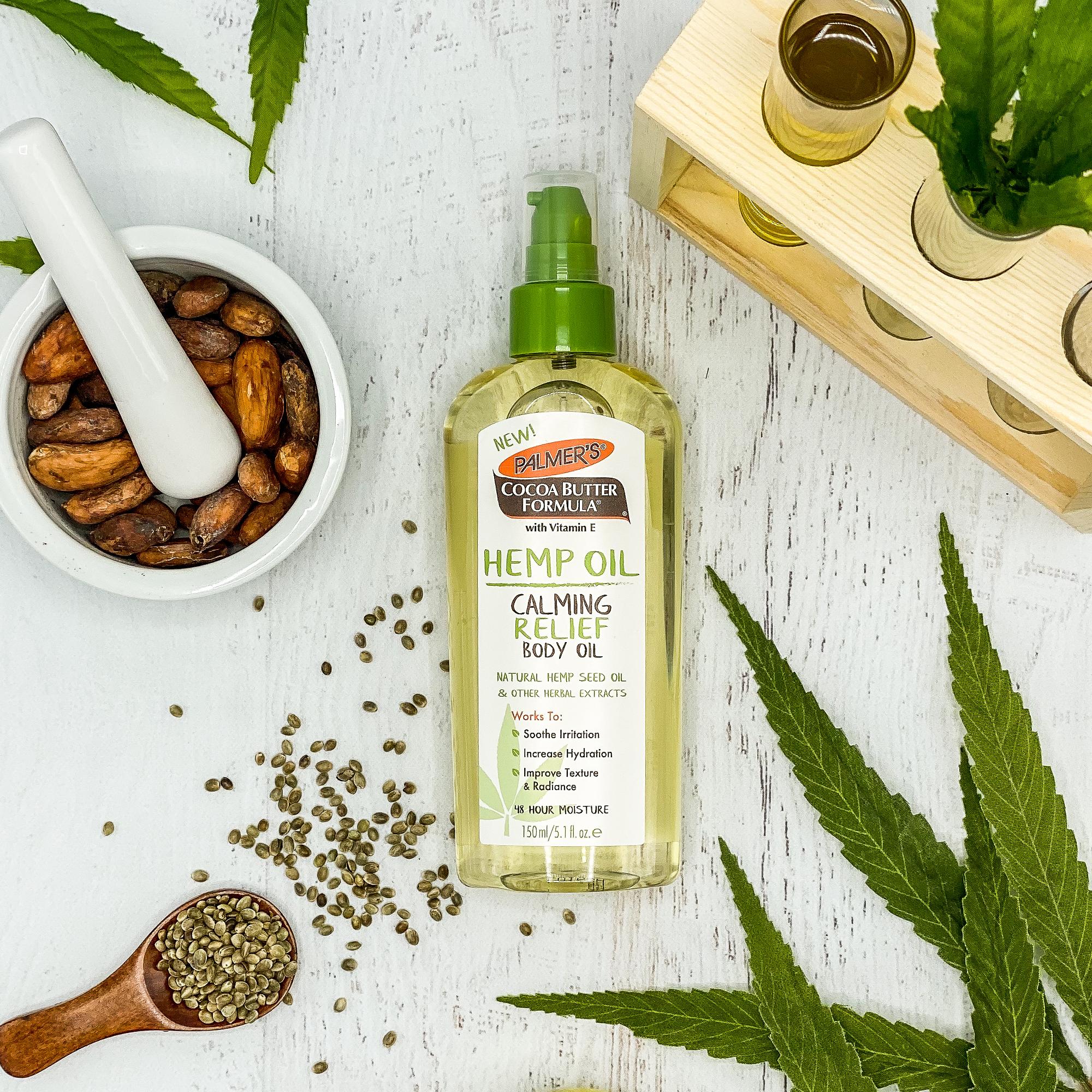 Palmer's Hemp Oil Calming Relief Body Oil for hemp oil benefits for skin on table